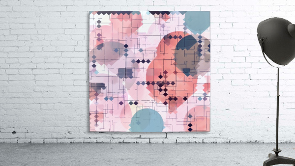 geometric square pixel pattern abstract with circle pattern background in red pink blue
