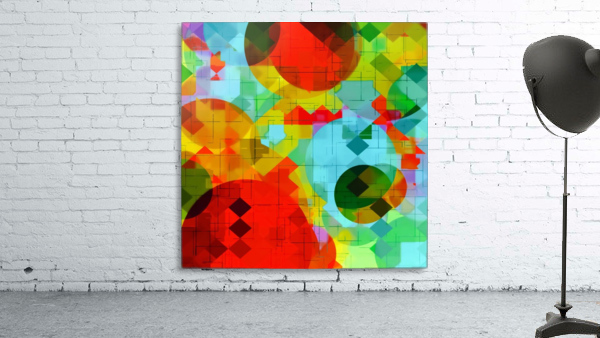 geometric square pixel and circle pattern abstract in red blue yellow