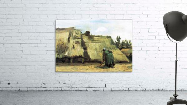 Farmhouse with farmer digging by Van Gogh