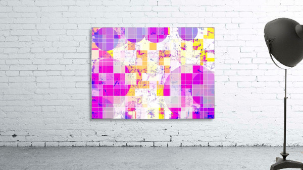 geometric square and circle pattern abstract in pink purple yellow