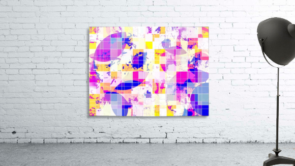 geometric square and circle pattern abstract in pink blue yellow