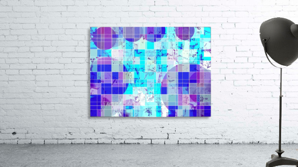 geometric square and circle pattern abstract in blue