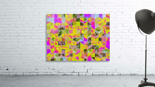 geometric square pattern abstract in yellow green pink