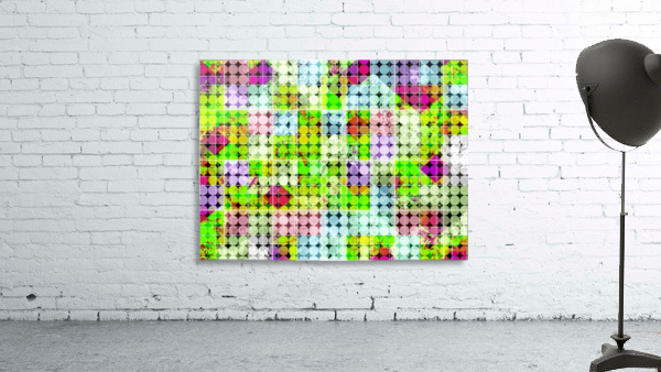 geometric square and circle pattern abstract in green pink