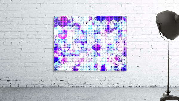 geometric square and circle pattern abstract background in pink blue