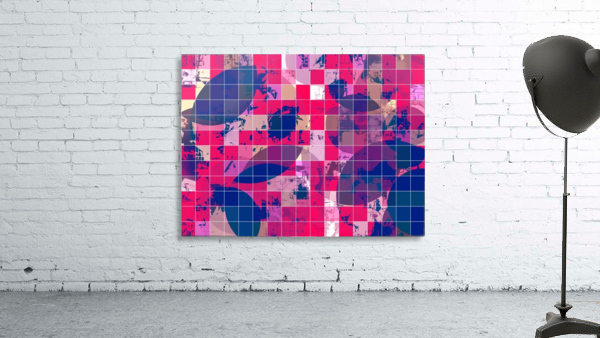geometric square and circle pattern abstract background in red pink blue