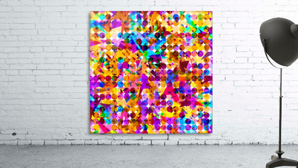 geometric circle and triangle pattern abstract in orange blue pink purple