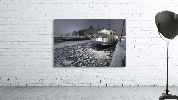 Frozen Nyhavn canal in winter