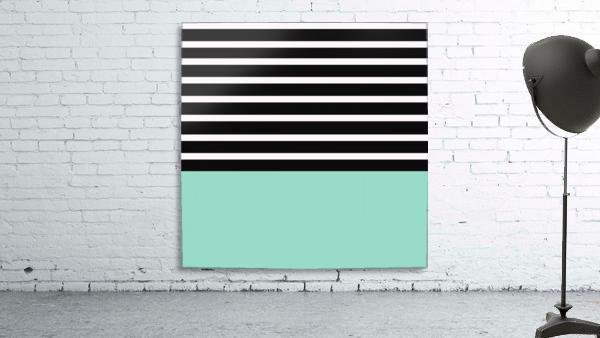 Black & White Stripes with Aquamarine Patch