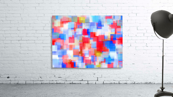 geometric square pattern abstract background in red and blue