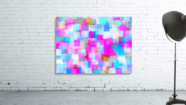 geometric square pattern abstract background in pink and blue