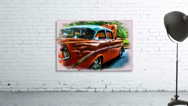 Classic Orange Car in Park Painting