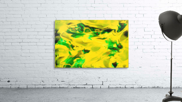 Golden Synchronicities - gold green abstract swirl wall art