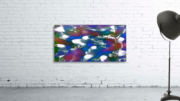 Morphing Dreams - blue green purple swirls and spots large abstract wall art