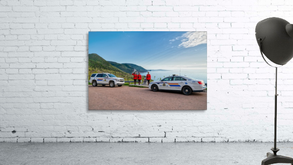 RCMP with cruisers at French Mountain Monument