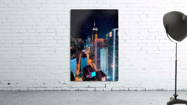 high rise buildings with lights