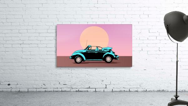 car poster retro vintage landscape