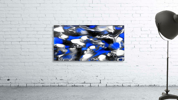 Booster - blue white black silver spots swirls abstract wall art