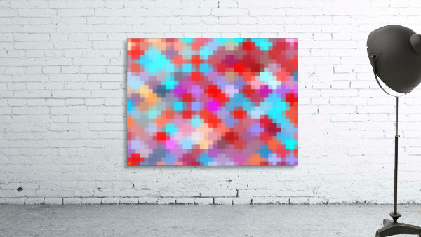 geometric square pixel pattern abstract in pink red blue