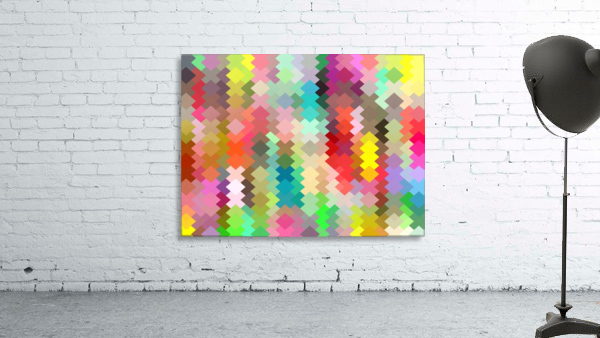 geometric square pixel pattern abstract in red blue green yellow