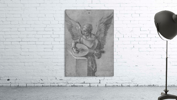 Winged Man In Idealistic Clothing, playing a Lute