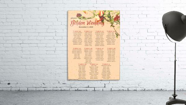 Maroon Floral Vintage Spring Formal Seating Chart
