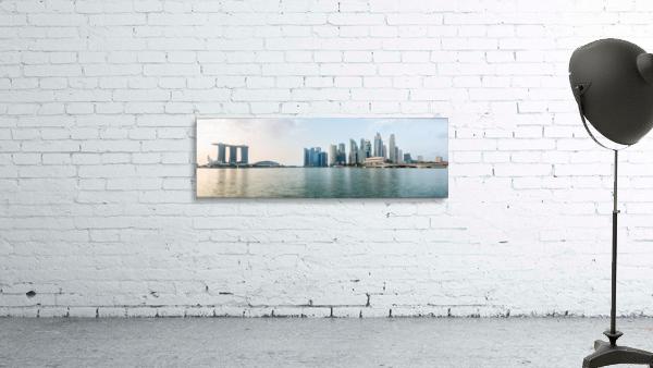 Panorama of Singapore skyline at sunrise