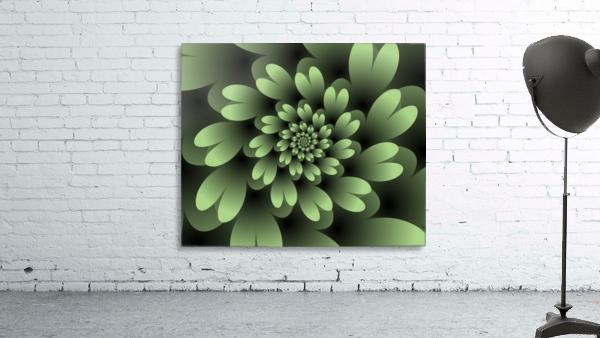 Green Floral Satin Wallpaper