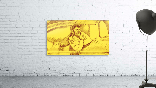 A drawing Of Elvis Presley In a Car Painted Yellow.