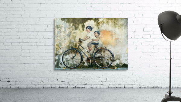 Kid And His Sister On A  Bicycle  Painting