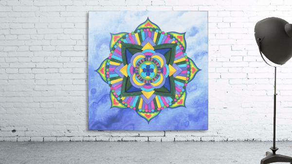 Hand Painted Mandala Watercolor Meditation on Blue