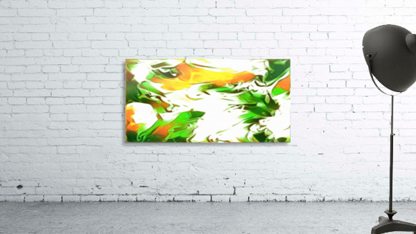 Legendary - green gold and white abstract swirls wall art
