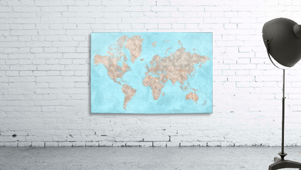 highly detailed watercolor world map in neutrals and light blue