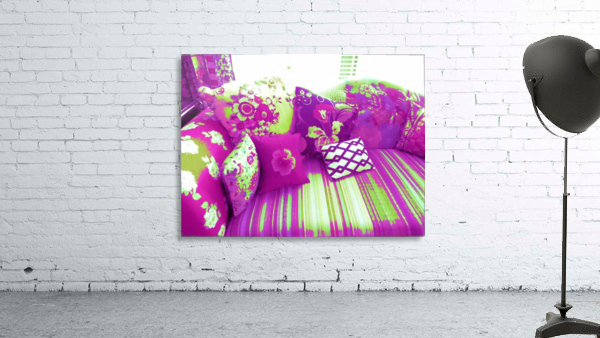 Sofa & Pillows -- Purple & Green
