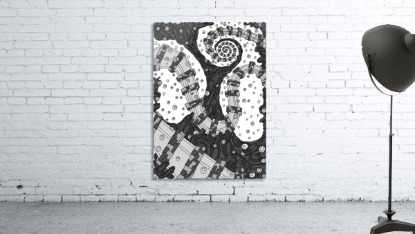 Wandering Abstract Line Art 02: Grayscale