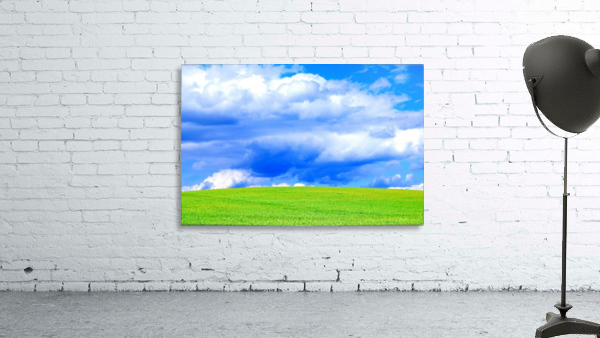 Blue Sky Clouds Field Bright Colorful Scenery Background