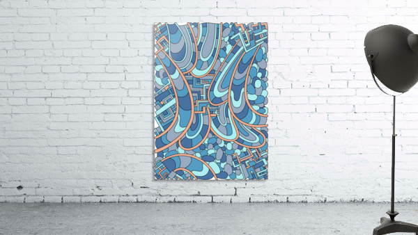 Wandering Abstract Line Art 09: Blue