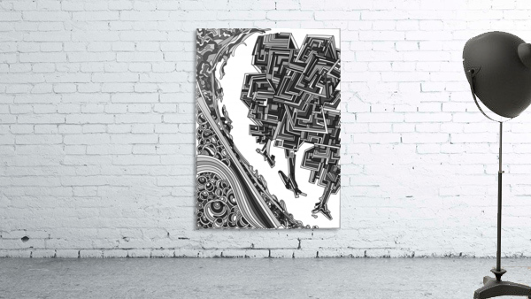 Wandering Abstract Line Art 12: Grayscale