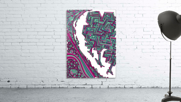 Wandering Abstract Line Art 12: Magenta