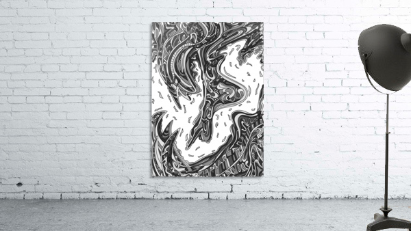 Wandering Abstract Line Art 14: Grayscale