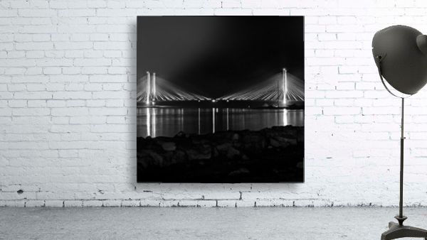 Indian River Bridge After Dark in Black and White