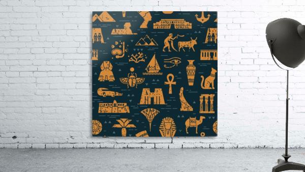 dark seamless pattern symbols landmarks signs egypt