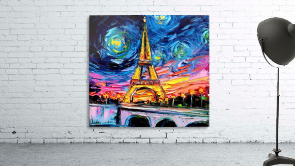 Eiffel Tower Starry Night print van Gogh