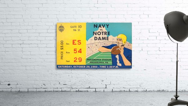 1960_College_Football_Notre Dame vs. Navy_Municipal Stadium_Row One Brand Football Art