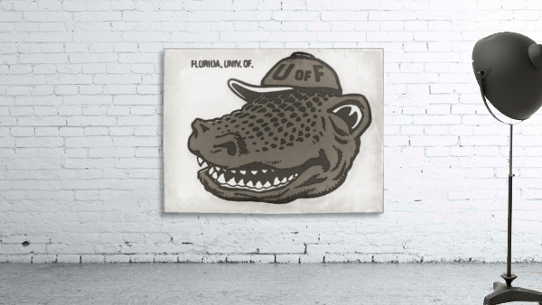 Vintage Florida Gator Art Reproduction Print Black and White