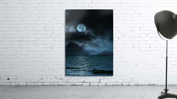 Cloudy Moon Shore at Night