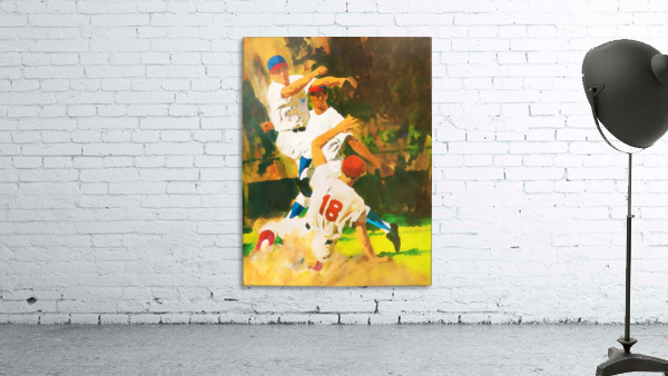 vintage watercolor style baseball art poster print sports artwork row one collection
