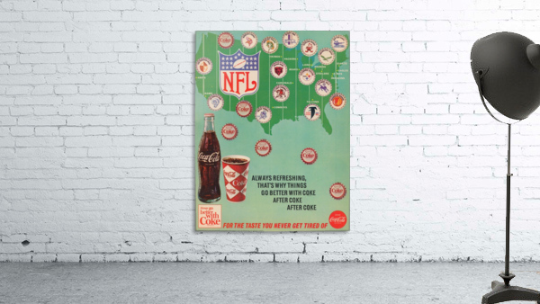 Vintage Coke NFL Bottle Cap Advertisement Poster