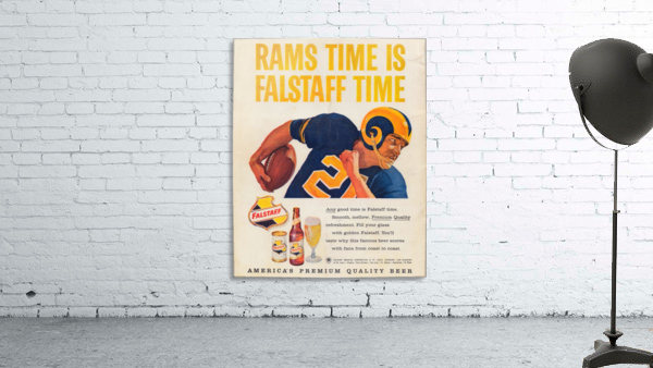 vintage falstaff beer ad la rams poster retro ads reproduction art