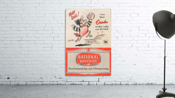 1960 baltimore orioles baseball score card review national bohemian beer ad poster